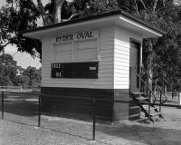 Ryder Oval score board, north Royal Park. Silver gelatin photograph